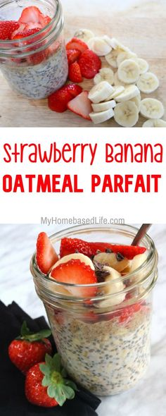 Life rarely goes the way we plan, but fast food doesn't have to be pre-packaged! Make Strawberry Banana Oatmeal Parfait the night before and grab and go! Healthy Oatmeal Breakfast, Healthy Oatmeal Recipes, Best Breakfast, Healthy Breakfast Recipes, Healthy Smoothies, Brunch Recipes, Breakfast Fruit, Strawberry Breakfast, Overnight Breakfast