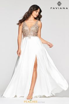 Faviana Style 10407 is a Long deep v-neck charmeuse dress with applique bodice, invisible zipper hook & eye closure. Shop now! Faviana Dresses, Prom Dresses, Formal Dresses, Dress Prom, Dress Long, Lace A Line Dress, Perfect Prom Dress, Satin Gown, Formal Prom