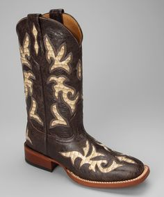 Take a look at this Johnny Ringo Boots Barn Brown Leather C-Toe Patent Western Boot - Women on zulily today!