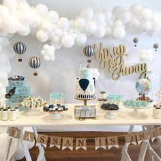 "374 Likes, 9 Comments - Natalie Russo (@foamtasticpartydecor) on Instagram: ""Up, up and away! What a gorgeous setup for Hassan's 1st birthday ☁️ Signage by us…"""