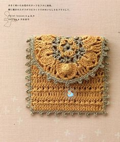 would like with extremely long, thin strap Crochet Coin Purse, Crochet Pouch, Crochet Purses, Thread Crochet, Knit Or Crochet, Crochet Gifts, Crochet Motifs, Crochet Patterns, Crochet Handbags