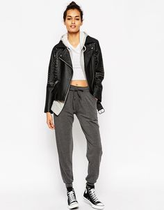 ASOS Jersey Peg Trousers with Draw Cord Waist