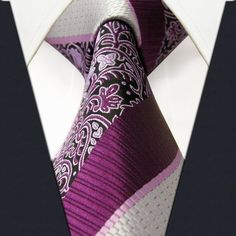 Stripes Floral Purple Silver Mens Extra Long Necktie Ties 100% Silk Jacquard Woven