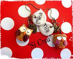 Owls earrings with name. Fimo creazioni. Fimo ideas. Handmade fimo.