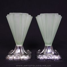 Bagley pair of 4 tall Grantham Art Deco 1930s green glass vases