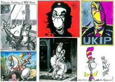 5 May 2013 - Rowson draws famous revolutionary pictures with Farage's likeness in them as Farage reckons UKIP will cause a storm in the European elections.