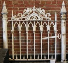 Antique, painted gothic fence gate gothic iron bed, a gothic bed from garden fencing old house restoration, products. Old Garden Gates, Old Gates, Garden Doors, Garden Fencing, Gothic Bed, Gothic House, Fence Headboard, Headboard Ideas, Cast Iron Gates