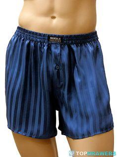Mansilk Silk Satin Stripe Boxer Short Blue M333J [M333JBU] - $34.00 : Topdrawers Underwear, Underwear for Men