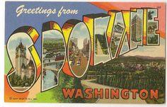 Greetings from... Spokane, Washington vintage linen postcard from 1948