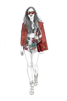 Aimee Song's street style look, illustrated by Alex Tang