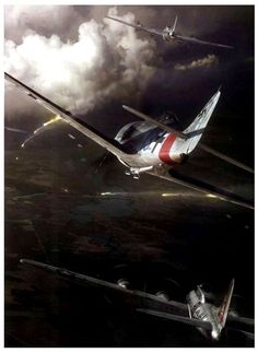 FW 190 attacking  B-17's.
