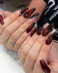 25 Ideas of Luxury Nails To Really Dazzle In 2020 – InspireandIdeas Sexy Nails, Dope Nails, Bling Nails, Red Acrylic Nails, Acrylic Nail Designs, Red Nail, Pastel Nails, Red Ombre Nails, Red Stiletto Nails