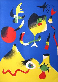 Joan Miró know for using vibrant colors and outlining colors with black