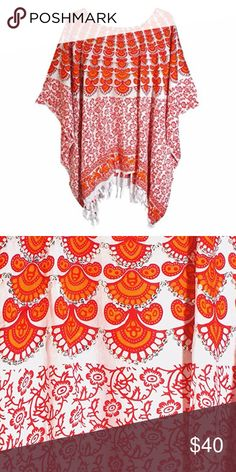 Orange and Pink Flower Print Poncho Dress orange and pink flower pattern 100% rayon poncho dress with sequin will add style to your look. This is a great choice to mix and match your accessories. Boutique Dresses