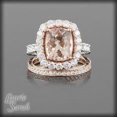 Morganite and Diamonds Wedding Ring Set with Diamond Wedding Band - my jaw just dropped