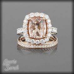 Morganite and Diamonds Wedding Ring Set with Diamond Wedding Band - my jaw just dropped
