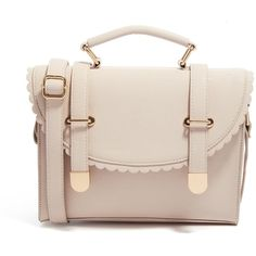ASOS Satchel Bag With Scallop Flap And Metal Tips ($24) ❤ liked on Polyvore featuring bags, handbags, purses, accessories, borse, bolsas, nude, man bag, nude handbags and metal purse