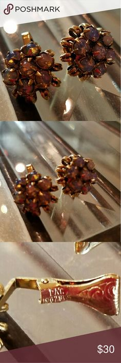 Selling this Vintage Faux Fire Opal Gold Tone Clip Earrings on Poshmark! My username is: ppamprrd. #shopmycloset #poshmark #fashion #shopping #style #forsale #Jewelry