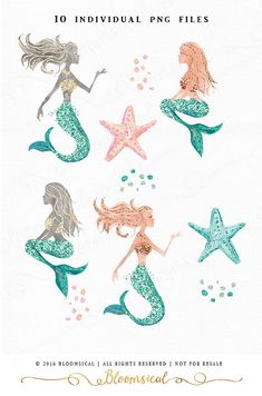 Chic & Glamorous Hand Painted cliparts featuring stylish fashion illustrated style mermaids, gemstone glitter starfish, glitter confetti in teal,