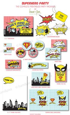 Superhero Printables The Complete Collection by hamandpea on Etsy, $90.00