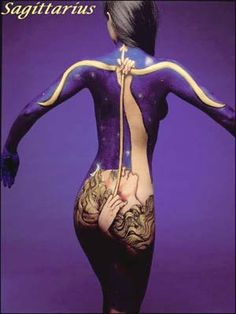 Sagittarius body art. For in depth info on Sagittarius personality & characteristics go to http://www.buildingbeautifulsouls.com/zodiac-signs/western-zodiac/sagittarius-sign-traits-personality-characteristics/