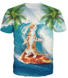 Women Men Summer tees Cute Kitty Cat Playing with Surfing 3d t shirt Beach COCO Tree Scenery t shirts Funny Pizza tshirts tops