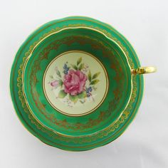 Vintage Aynsley Green Tea Cup and Saucer with Pink Rose, Bone China