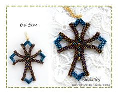 Cubic Right Anglie Weave Small Cross Beading Tutorial by Studio183: A Step by Step Cubic Right Angle Weave Beading Pattern with full colour diagrams and a written Beading Tutorial on how to make Catherine's Cross. A beautiful little 6cm Cubic Right Angle Weave Cross that has an elegant Gothic feel to it. This is beaded in 15o seed beads and will challenge your patience. Once the pattern is mastered, you can alter it to make it even smaller.