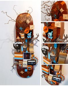 Skateboard Furniture, Skateboard Design, Skateboard Decks, Upcycle Home, Shadow Box Memory, Skate Art, Upcycled Crafts, Tree Art, Wood Art