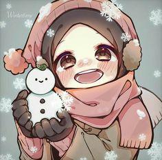 Drawing Cartoon Faces, Cartoon Art, Cute Girl Drawing, Cute Drawings, Anime Chibi, Kawaii Anime, Muslim Images, Hijab Drawing, Islamic Cartoon