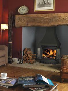 Jotul open door stoves built in Wood Burner Fireplace, Inglenook Fireplace, Open Fireplace, Fireplace Wall, Living Room With Fireplace, Living Room Decor, Living Spaces, Brick Fireplaces, Fireplace Ideas