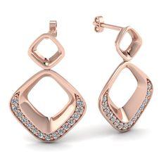 Rectangular Dangle Diamond Earrings in Rose Gold