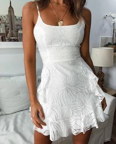 Forefair Women White Mesh Dress Elegant Vestidos Mujer 2019 Summer Sleeveless Backless Spaghetti Strap A Line Mini Ruffle Dress Price: White Mesh Dress, White Floral Dress, White Dress Outfit, White Dress Casual, White Sundress, Cute White Dress, Floral Lace, White Lace, White Fitted Dress