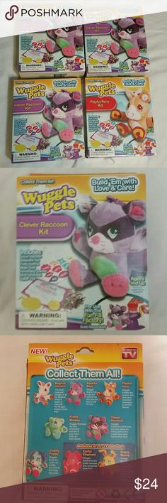 Wuggle Pets as seen on TV toy Great little stuff toy kit I have 3 clever racoons and one playful pony the playful pony box was caught in,over spray in store room contents not effected see photo . If your young person likes build a bear they will love these they can put special note or memory inside while making great activity with children or grandchildren build a memory or connection buy all 4 if you want 1 I can sell separate will have to create separate listing but will be 7 each separate…