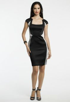 Short Stretch Satin Dress with Cap Sleeves from Camille La Vie and Group USA
