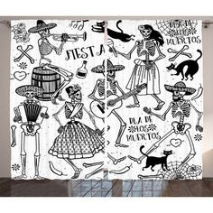 "East Urban Home Dead Dancers Decorations Graphic and Text Room Darkening Rod Pocket Curtain Panels Size: 54"" x 84"""
