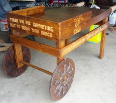 Refinished and engraved display cart/table