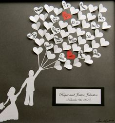 Wedding guest book alternative 3D paper hearts lovely bridal shower gift. modern…