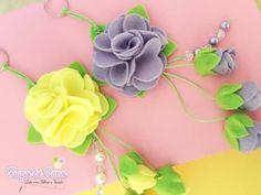 Molde de chaveiro flor em feltro - Ver e Fazer #flor #feltro #boneca #diy #artesanato #felt #molde #enfeites #pingente #chaveiro