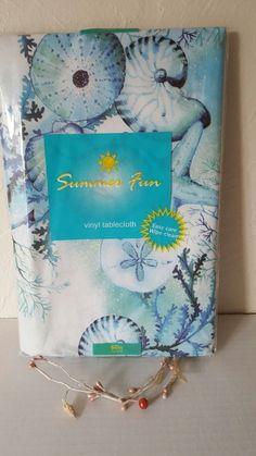 Summer Fun Coastal Vinyl Tablecloth 60 Round Sea Life | Home & Garden, Kitchen, Dining & Bar, Linens & Textiles | eBay!