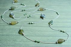 Super Long Necklace w/Chain, Pearls and Blue to Yellow-Hued, Green Stones