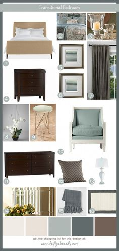 Transitional Bedroom 1 | Design Boards.  I like these colors, if not the individual pieces.