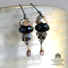 Moonbeams Jewelry Earrings:Spinel, Labradorite, Keshi Pearls, Sapphires, Sterling Silver, Gold.