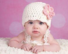 Creme Baby Hut neugeborenes Baby Mädchen Hut Flapper Mütze Flapper Hut rosa Blume Hut Foto Prop Mädchen Neugeborenen Hat Baby Mädchen Babykleidung gehäkelt