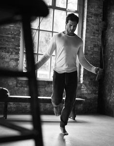 "Jamie Dornan skipping by Alex Bramall for The Obsever Magazine November 2, 2014 Issue. He plays a serial killer in ""The Fal""l and stars in the film version of ""Fifty Shades of Grey"". Jamie Dornan gets physical for The Observer. See Dark star – Jamie Dornan interview on http://www.theguardian.com/tv-and-radio/2014/nov/02/jamie-dornan-the-fall-fifty-shades-of-grey"