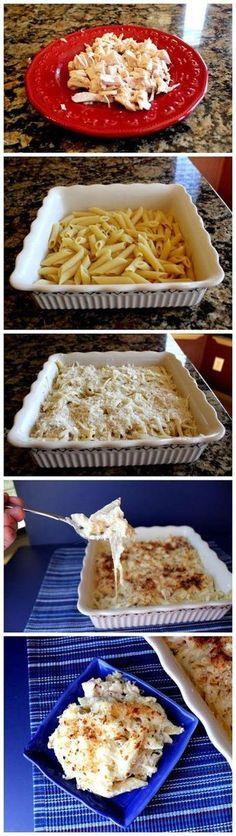 Creamy Chicken Alfredo Pasta Bake - Joybx