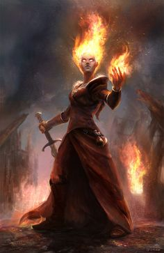 "char-portraits: ""Fire Sorceress by Mac-tire "" Fantasy Races, Fantasy Warrior, Fantasy Rpg, Fantasy Artwork, Dark Fantasy, Fantasy Wizard, Writing Fantasy, Character Concept, Character Art"