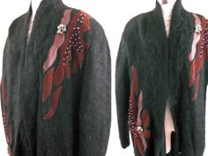 VINTAGE 80's FUZZY MOHAIR LEATHER AND SUEDE APPLIQUE CARDIGAN Sweater Size L-XL #vintagecaedigan#80sleatherandsuede