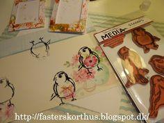 Fasters korthus: flere kort med fugl