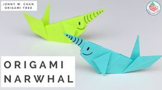 In this tutorial, I'll show you how to fold an origami whale! More specifically, it's an origami narwhale. Also check out these related origami tut. Whale Crafts, Ocean Crafts, Fun Crafts, Crafts For Kids, Origami Tree, Paper Crafts Origami, Oragami, Paper Crafting, Origami Lamp